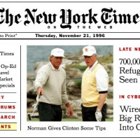 Homepage of NYTimes.com on Thursday, November 21, 1996
